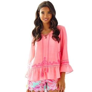 Lily Pulitzer Neon Peasant Top Blouse Lace Up Tie